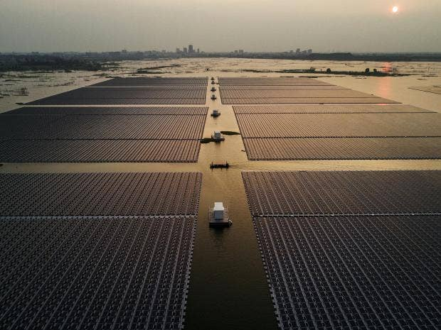 China has gone to great lengths to transform itself into a green energy  pioneer, and has built the world's largest floating solar farm Getty