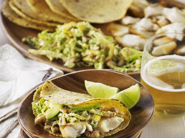 How to make fish tacos with walnut slaw the independent for How to prepare fish tacos