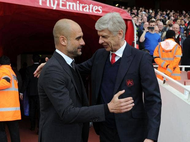 Image result for Pep Guardiola with Arsene Wenger