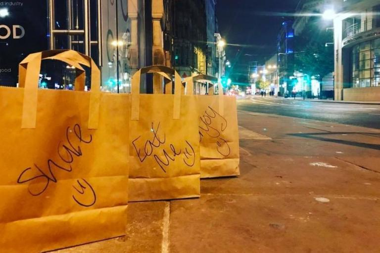 Manchester restaurant leaves boxes of food for homeless people every night