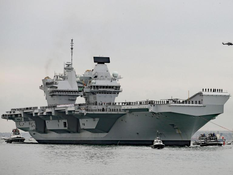 HMS Queen Elizabeth leaves Portsmouth for historic US trip, amid rumours of potential Trump visit