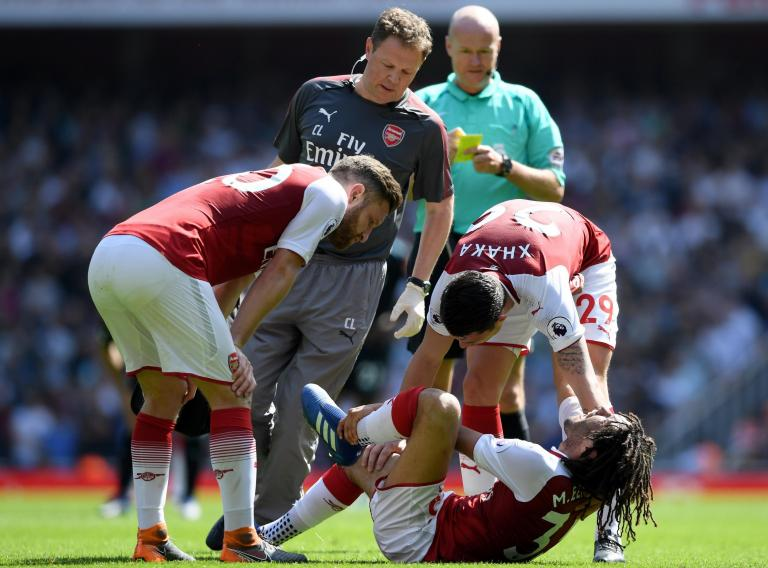 Arsenal hopeful Mohamed Elneny will recover from ankle ligament damage ahead of season's close