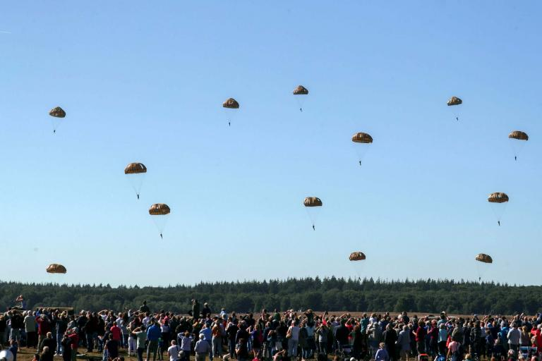 Battle of Arnhem: parachutes float from the sky to mark 75th anniversary of mission to end Second World War