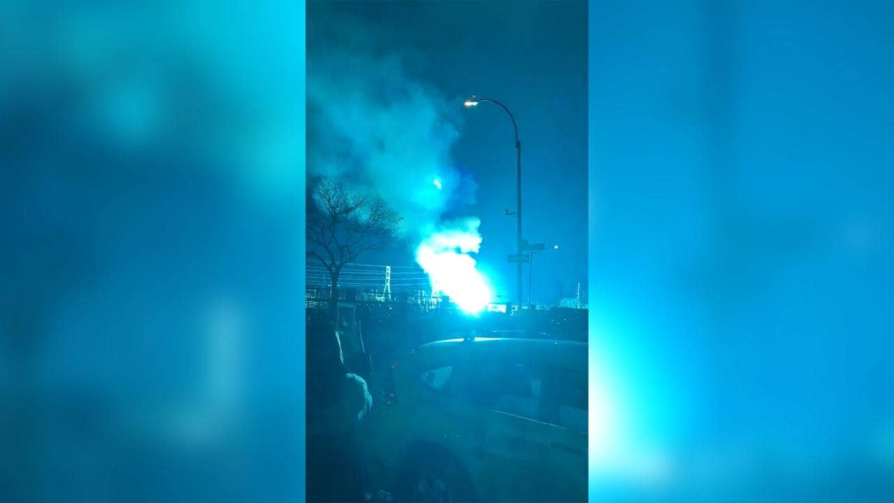 New York City Sky Turns Neon Blue After Explosion At Power Plant In