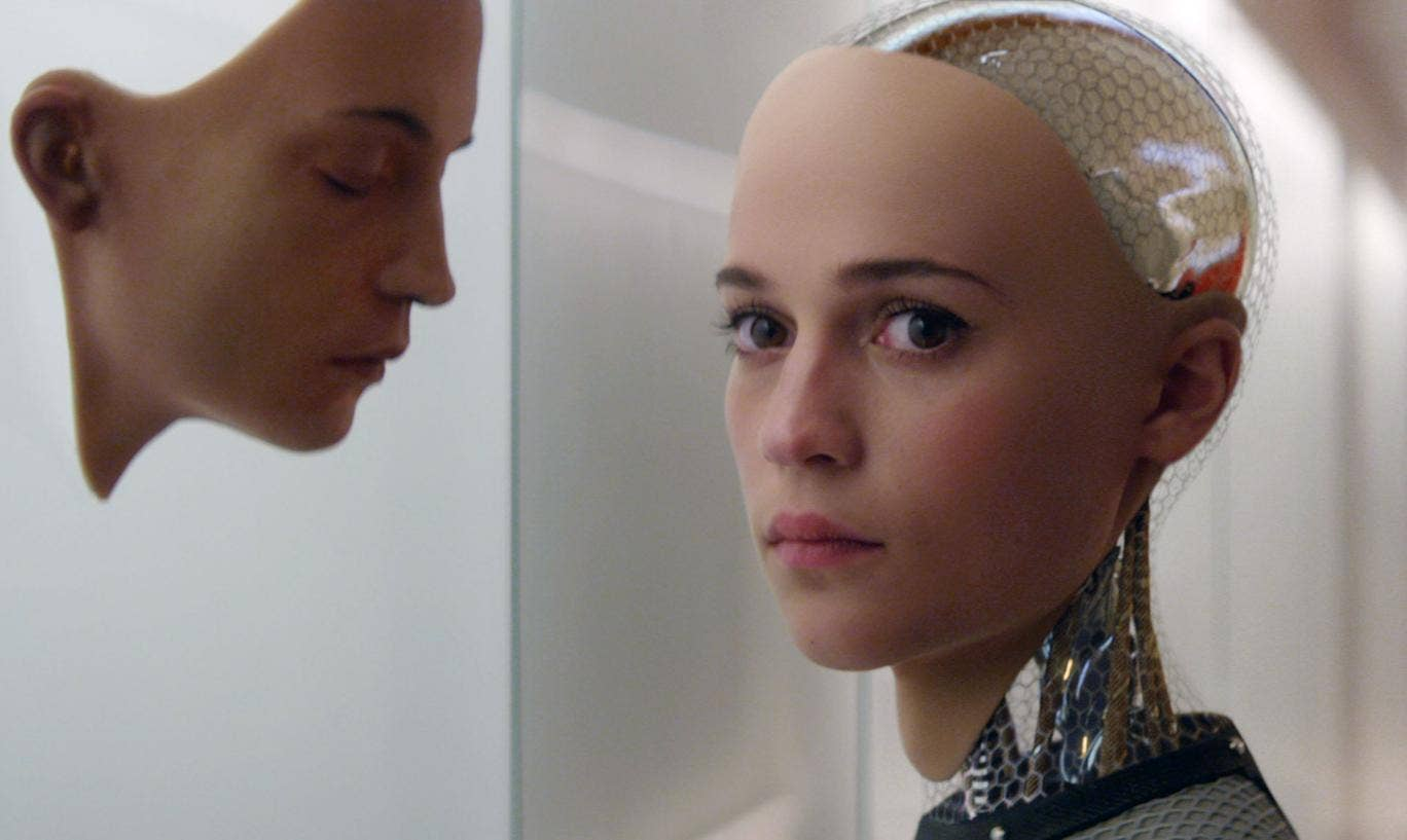 Close up on the face of actress Alicia Vikander as she plays in  'Ex Machina'