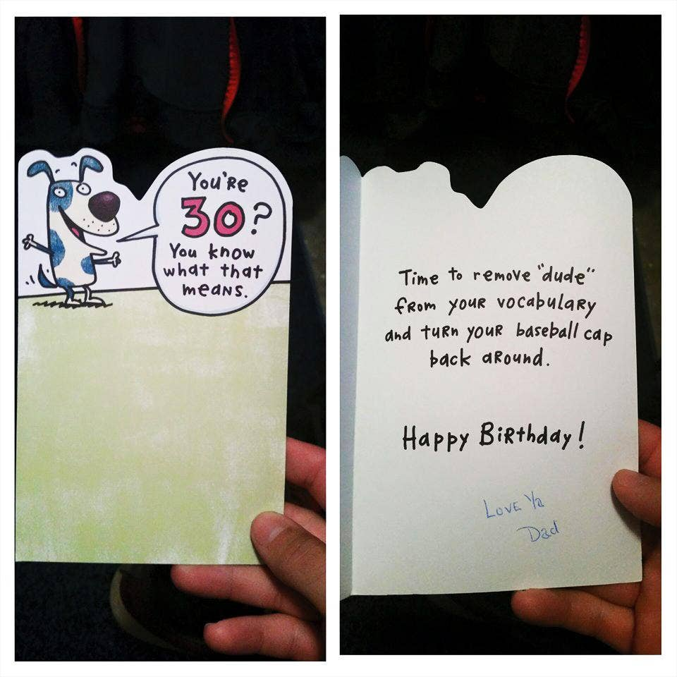 Son Receives Touching 30th Birthday Card From Father Who Died In