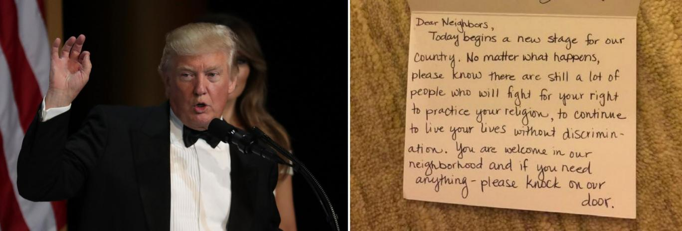 Некто отправил это прекрасное послание для мусульманской семьи после инаугурации Трампа
