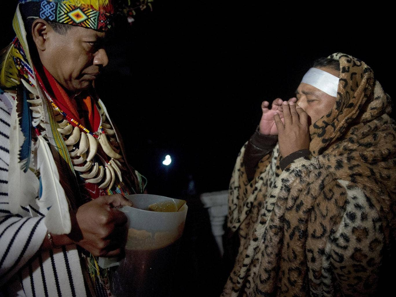 Ayahuasca being used during a ceremony in Columbia