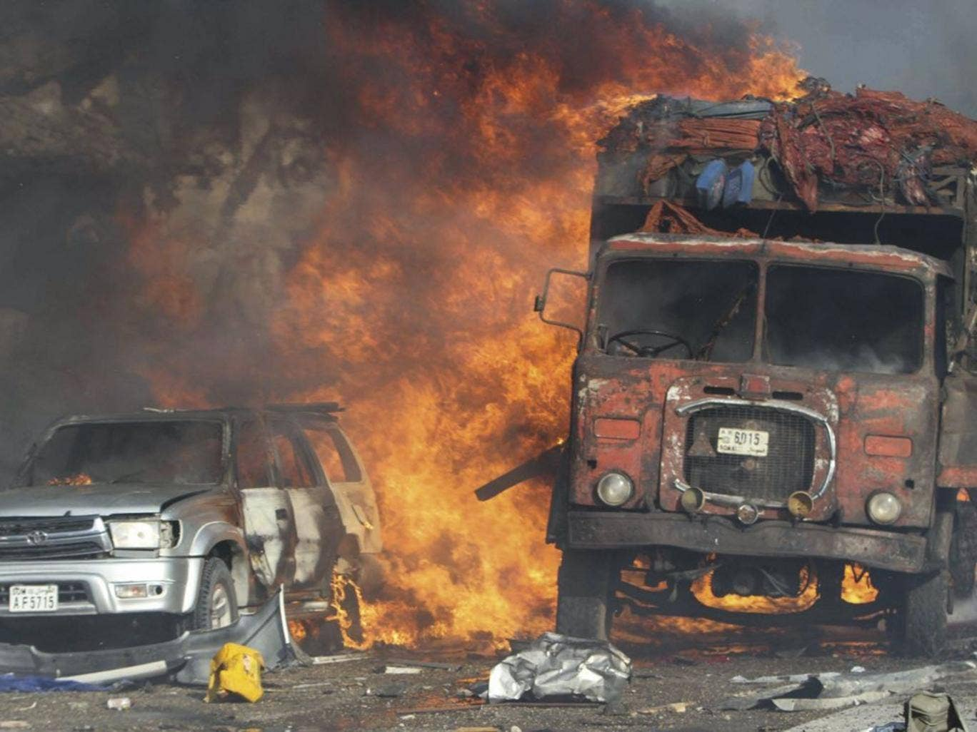 Vehicles burning after the truck bomb explode at the busy city of Mogadishu
