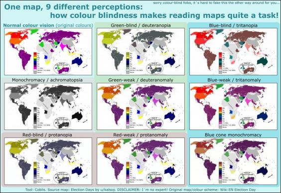 This Is What A World Map Looks Like If Youre Colourblind Indy - World map no colour
