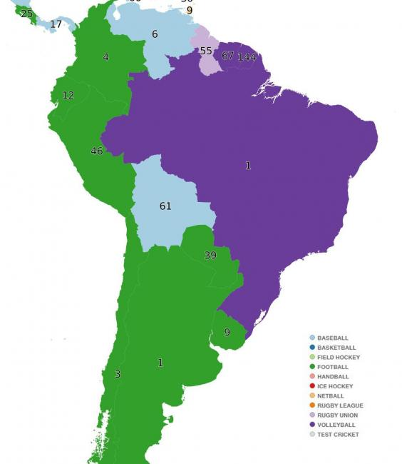 The world map according to which sport each is country is best at south america gumiabroncs Choice Image