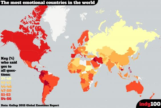A Map Of The Most Emotional Countries In The World Indy - Map of countries of the world