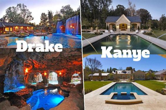 Drake dissed kanye 39 s pool so here 39 s a side by side - Swimming pools with slides north west ...
