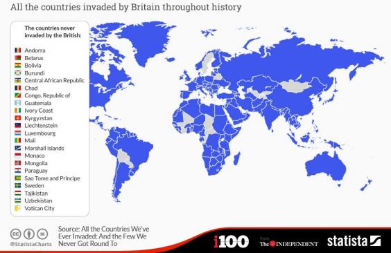 A map of the world according to the countries britain has never countries britain never invaded as shown in this statista map 19289 1cnpnchg gumiabroncs Gallery