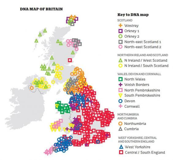 DNA map of Great Britain (University of Oxford via The Independent)