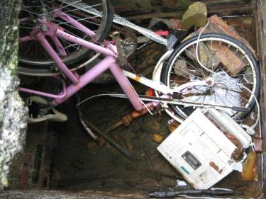 Pink ladies bike and fax machine at East Kilbride.jpg