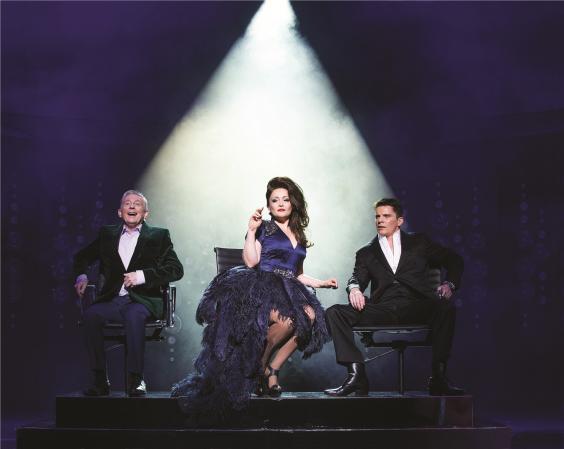 L-R Ashley Knight (Louis), Victoria Elliott (Jordy) and Nigel Harman (Simon) in I Can't Sing Tristram Kenton Press 2.jpg