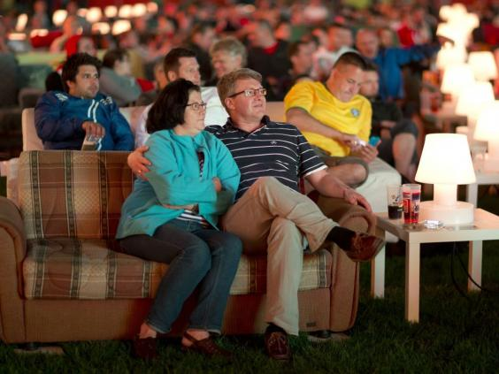 World Cup 2014 German Fans Take Sofas To Stadium Watch Games