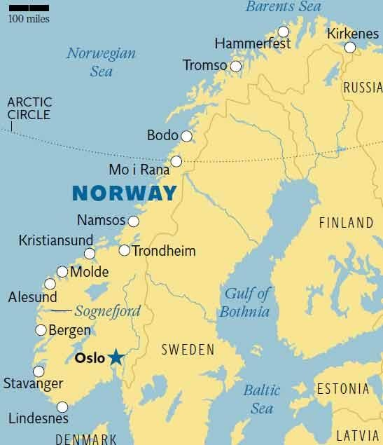 Travellers Guide Coastal Norway The Independent - Norway map cities