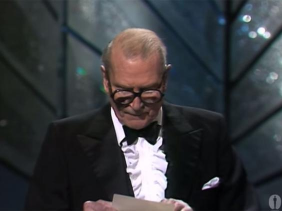 Image result for olivier announcing amadeus as best picture