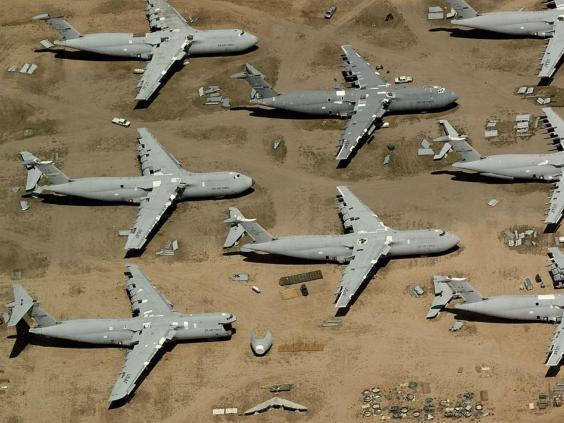 planes being taken apart for s at the davis monthan air force base in arizona