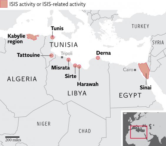 isis north africa map