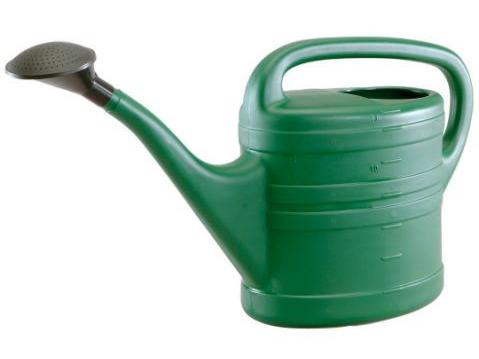 i prefer a plastic can for outdoor use as although the metal watering cans look nicer in the garden when you have many pots to water they start to become
