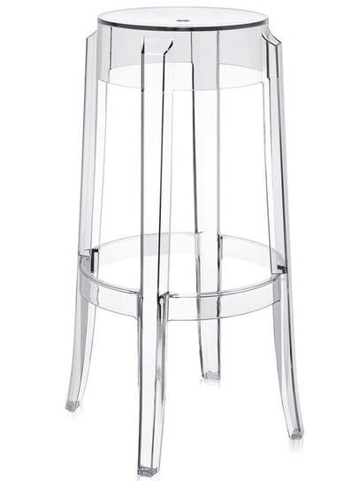The Louis Ghost chair is one of design superstar Philippe Starcks most famous products The Charles stool is from the same family and is made from a