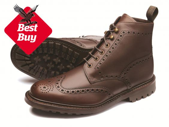 Shoe Factory Mens Brown Leather Brogue Boots