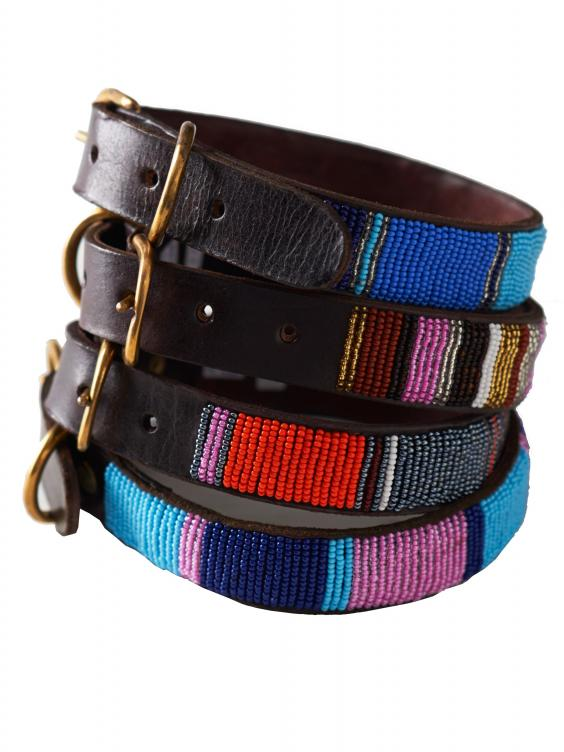 Leather Beaded Dog Collar by SIMBA JONES.jpg