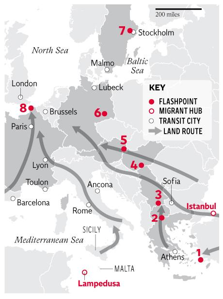 EU migrant crisis Map shows how road to Europe represents danger at
