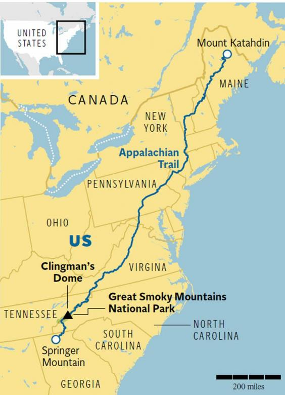 Americas Appalachian Trail Follow In Bill Brysons Footsteps - Us map with appalachian mountains