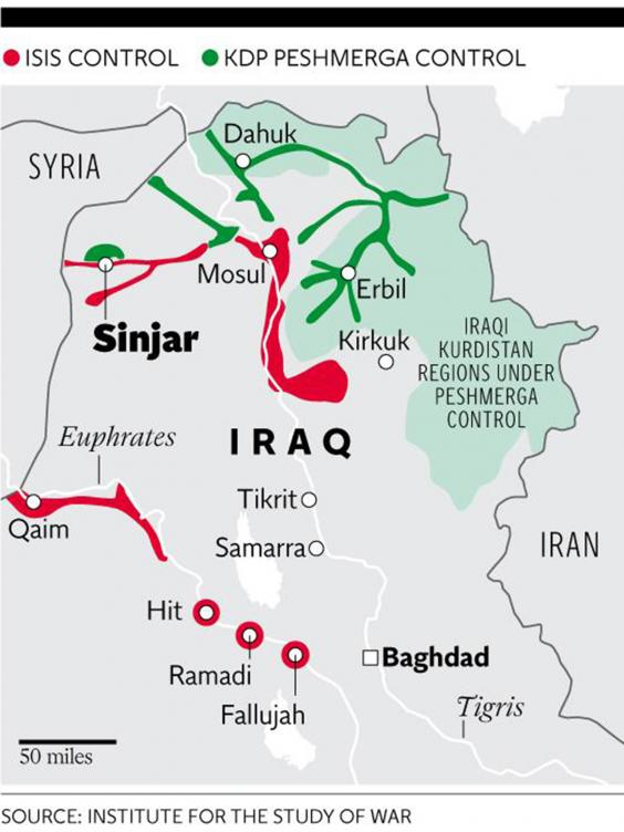 Sinjar Offensive Attack Gives Iraqs Yazidis The Chance To - Iraq distance from us map