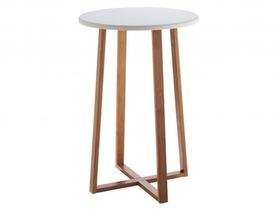 Great Habitatu0027s Basic But Elegant Drew Side Table Has Tall Bamboo Legs That  Appear To Cross Over At The Base, And A Circular White Lacquer Top.