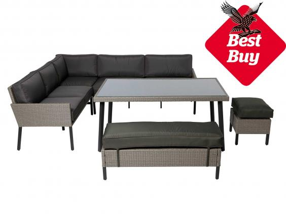 Less than £600 gets you six synthetic rattan armchairs with back and seat  cushions, a generous 169.5x90cm dining table and a smart grey ...