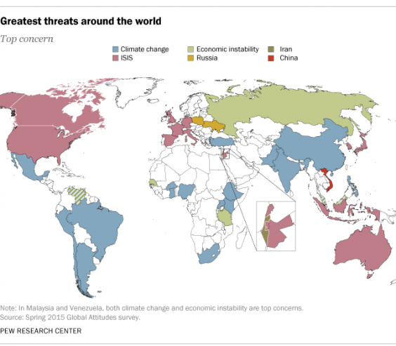 This Map Shows What Different Countries View As The Greatest - Threats to us on a map