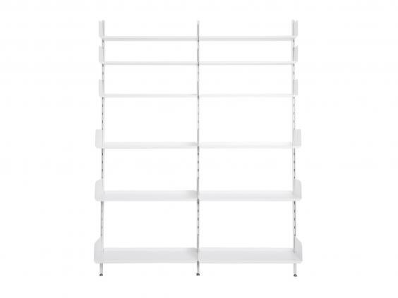 best for bookcases and wardrobes this system is made of aluminium uprights and wood shelves treated with a smooth white lacquer the uprights have holes to