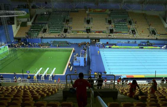 Olympic Swimming Pool 2016 rio 2016: green olympic diving pool is 'safe' say officials, but