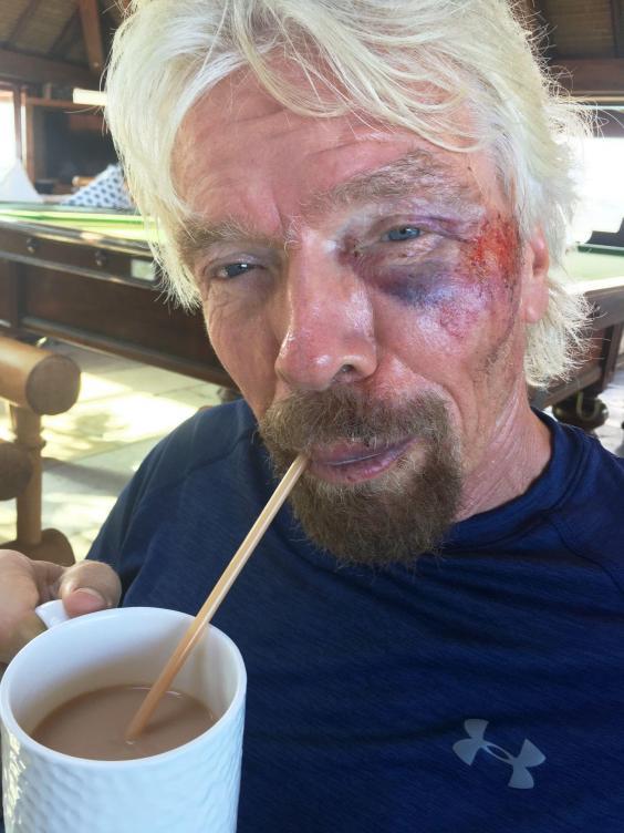 Virgins Sir Richard Branson climbs aboard the Hyperloop