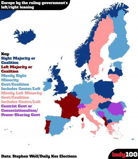 The map of europe by how right or left wing the government is indy100 graphic 1g gumiabroncs