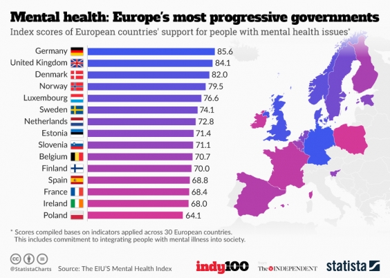 The Map Of Europe According To How Much Governments Care About - Mental health needed in us virgin islands on a map