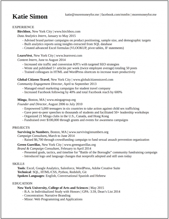 cv katie 0jpg - Sample Resume Business Analyst
