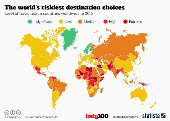The most dangerous places in the world to go on holiday indy100 20161116 travel riskg gumiabroncs Choice Image