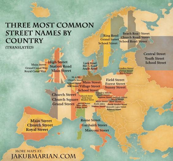 The map of europes most common street names indy100 street names englishg freerunsca Choice Image