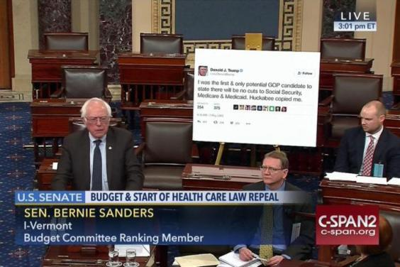 Bernie Sanders Printed Out a Donald Trump Tweet for Senate Meeting