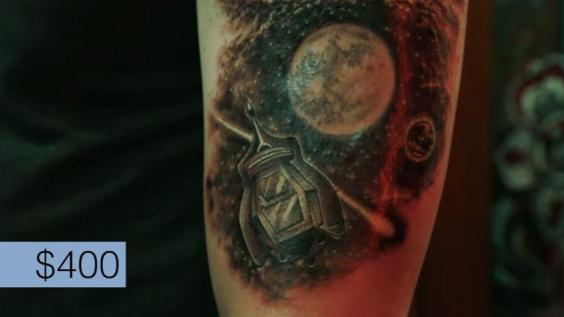 This man got a 65 tattoo a 300 tattoo and a 700 for Tattoo cost per hour