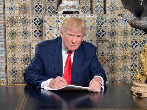 Mr Trump preparing his address to the nation