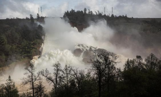 Emergency Staff Work On Lake Oroville Dam After Evacuation