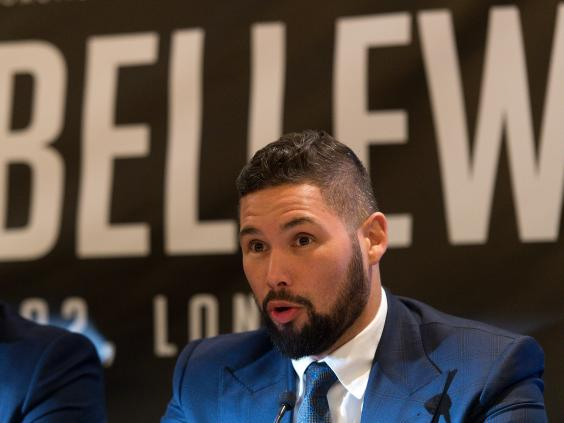David Haye, seemingly rattled, reacts to taunts from Tony Bellew supporters