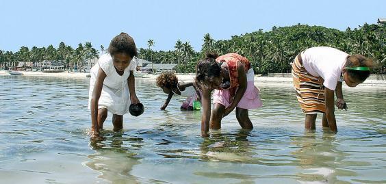 Afval kleurt wereldberoemd strand op de filipijnen groen - Groen baudet meisje ...